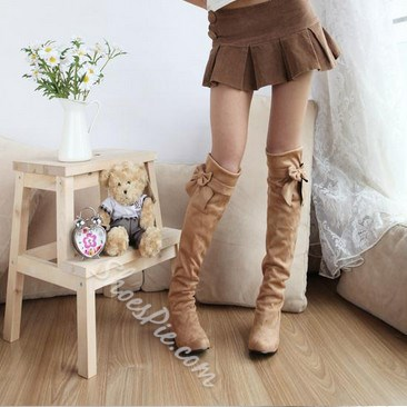 Comfortable Honey Round-toe Knee High Boots with Bow Knot