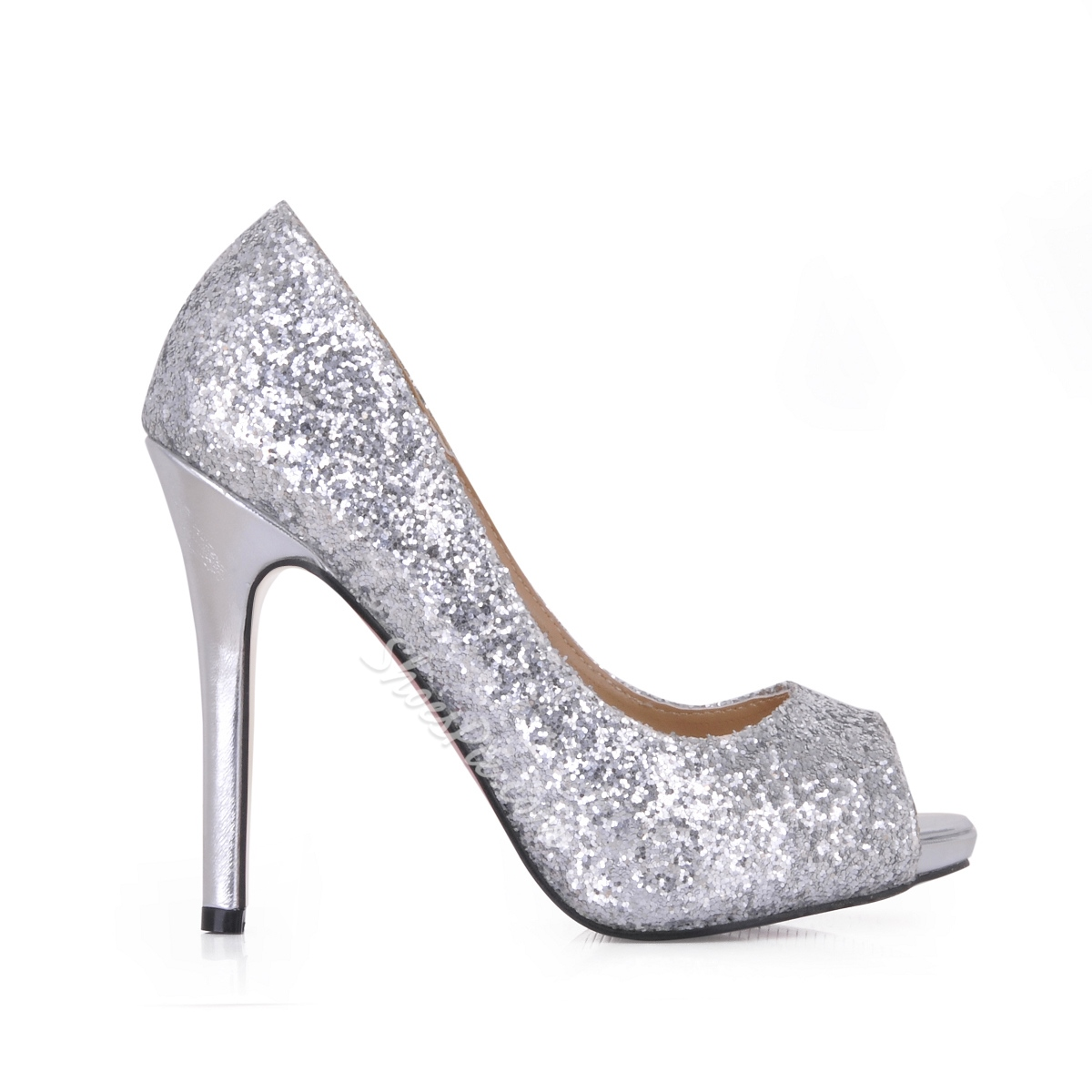 Shining Silver Stiletto Heels Peep Toe Prom/Evening Shoes ...