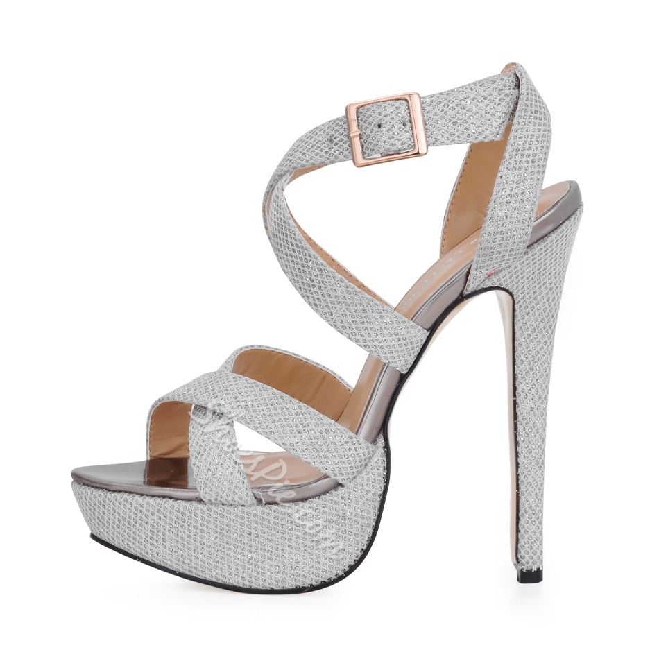 Fancy Silver Glittering Upper Platform Stiletto Heels Peep Toe