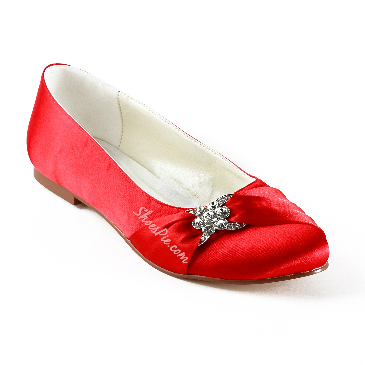 Fashion Red Satin Flat Heels Round Toe Wedding Bridal Shoes