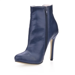 Charming Dark Blue Upper Stiletto Heels Closed-toe Women's Boots