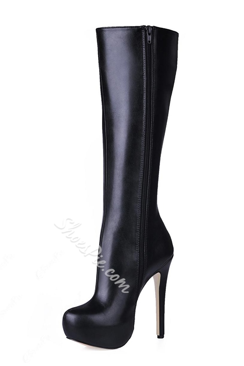 Fashionable Black PU Upper Stiletto Heels Closed-toes Knee High Boots