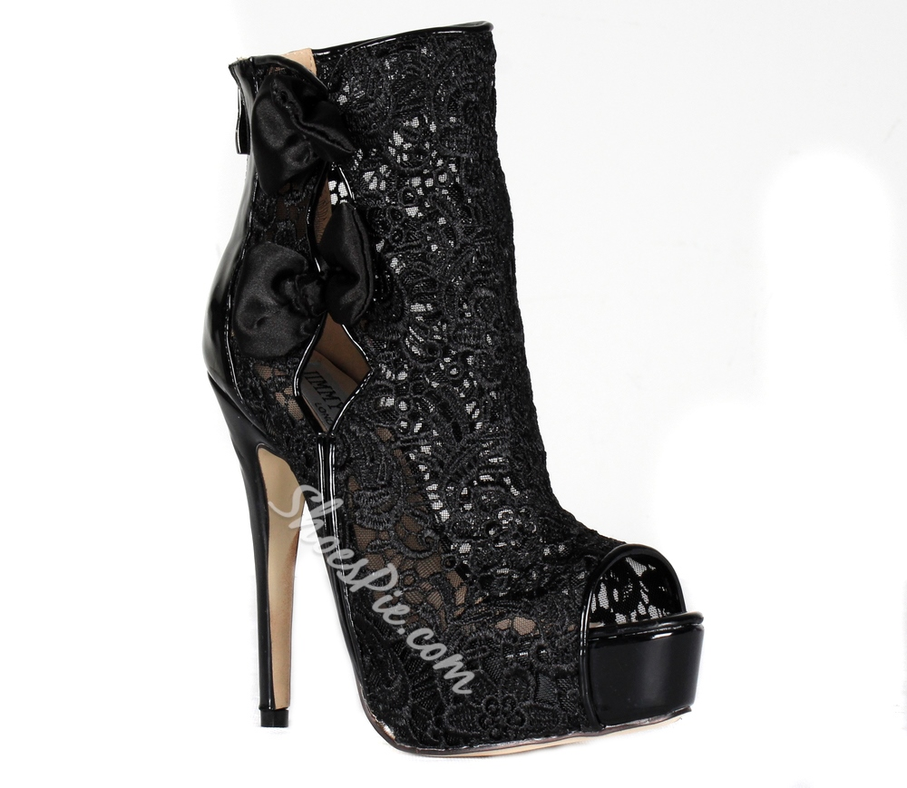 Black Lace Stiletto Heels Peep-toe Ankle Boots