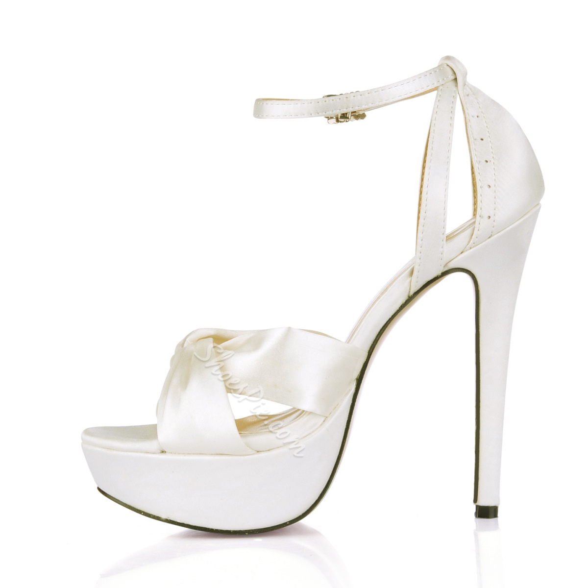 Best White Satin Upper Stiletto Heels Dress Sandals