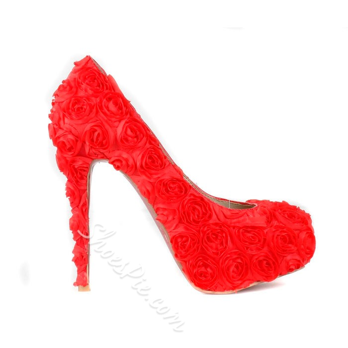 Red Platform Stiletto Heels Round-Toe Prom
