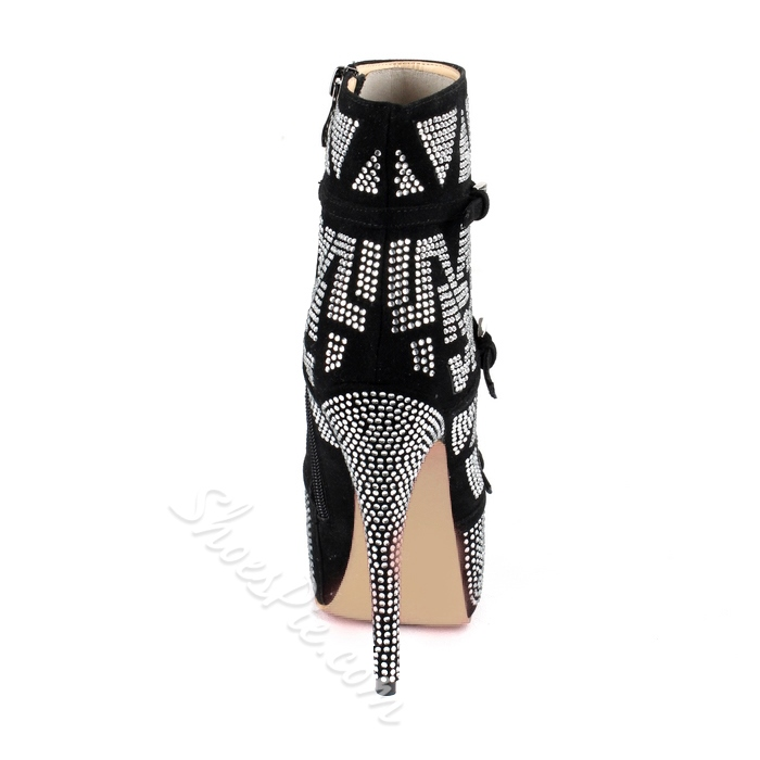 Cool Black Rhinestone Ankle Boots