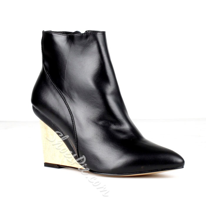 Black Leather Wedge Pointed-Toe Women's Boots