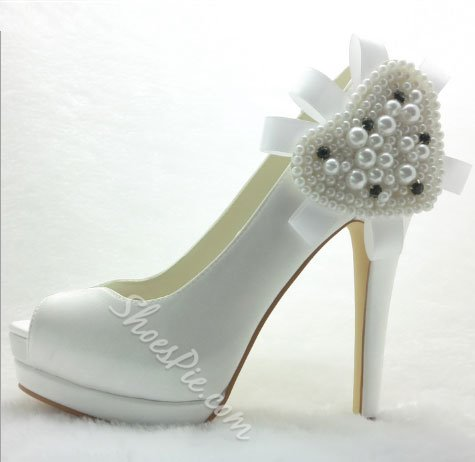 Fashion White Platform Satin Peep Toe Bride Shoes
