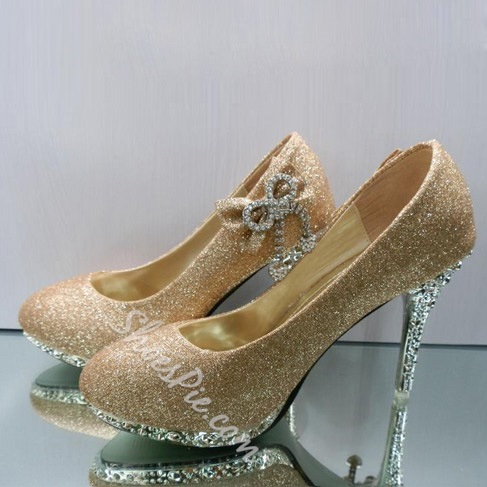 Golden Stiletto Heels Closed-toes Wedding Bridal Shoes with Bow