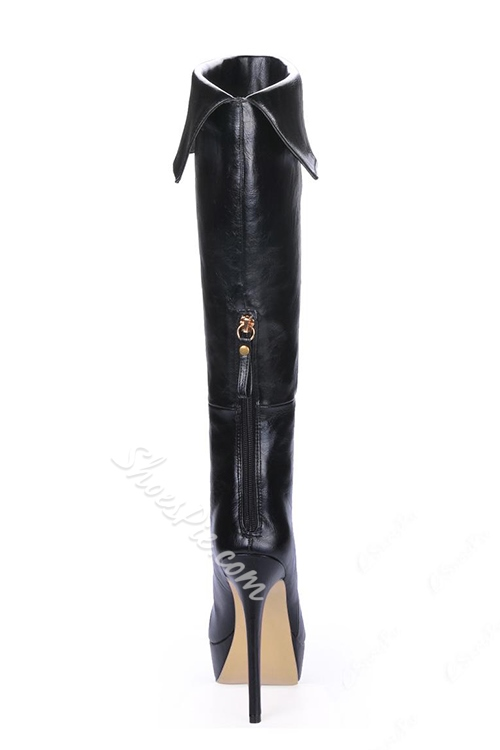 Fashion Black PU Stiletto Heels Knee High Women's Boots