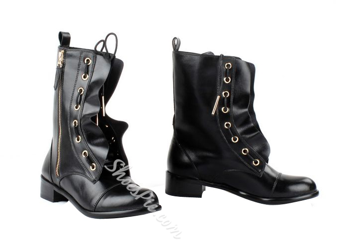 Cool Black Genuine Leather Flat Boots