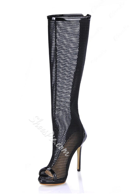Black Hollow Out Stiletto Heels Peep Toe Women's Boots