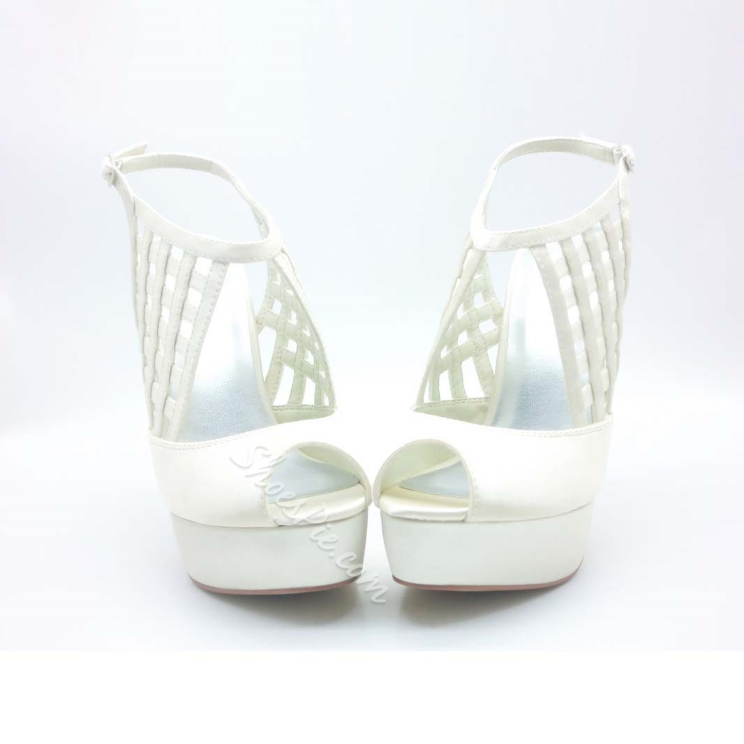 Perfect Satin Platform Peep Toe Sling-back Prom/Evening Shoes
