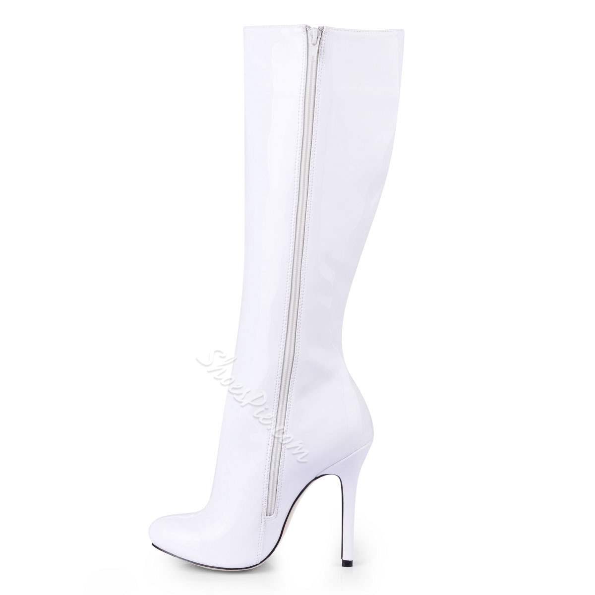 White Upper Stiletto Closed-toes Knee High Boots