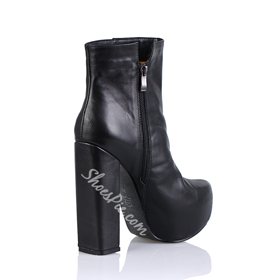 Great Black Cowhide Block Heels Closed Toe Ankle Women's Boots