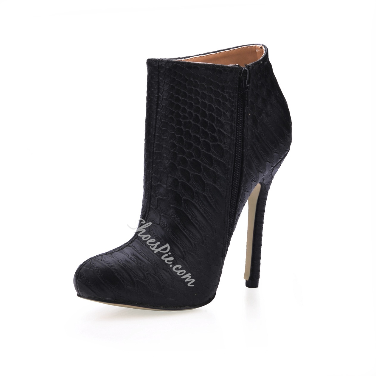 New Arrival Upper Stiletto Heels Closed-toe Boots with Snakeskin Print