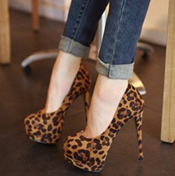 Fashion Leopard Closed-toe Platform Stiletto Heels