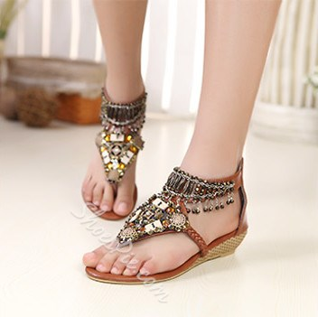 e35475010bee2b Bohemian Styles Brown PU Upper Flat Heels Women Sandals with Rhinestones-  Shoespie.com