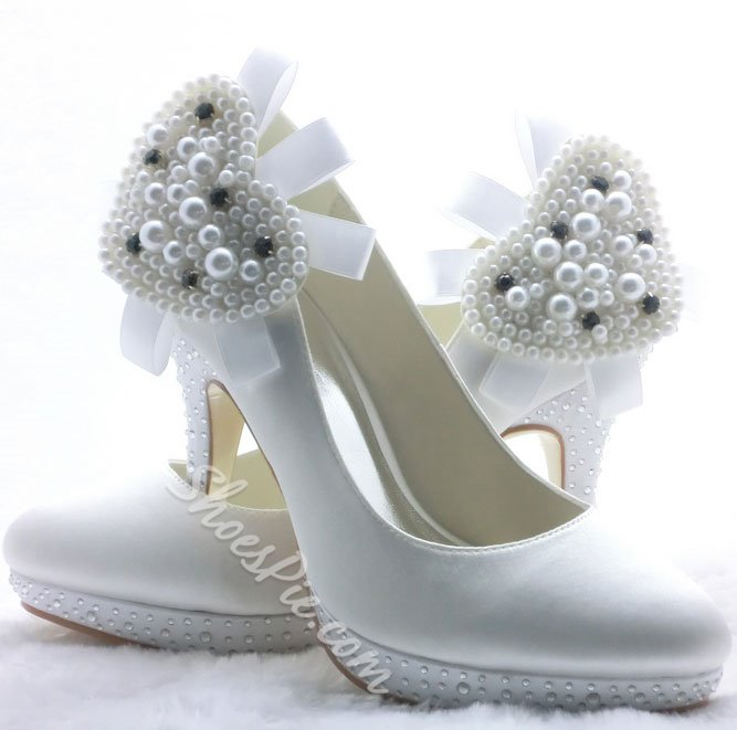 High Quality White Platform Satin Bridal Shoes