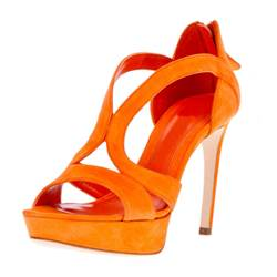 Terrific Orange Suede Upper Stiletto Heels Dress Sandals