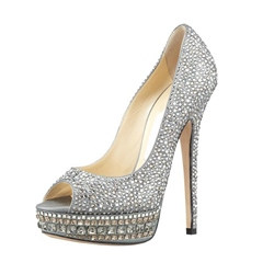 Summer Silver High Heels leather Peep Toe Women Pumps