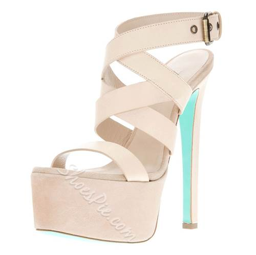 Graceful Natural Stiletto Heels Platform Sandals with Cross Straps