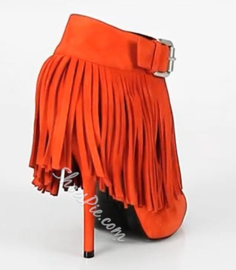 Perfect Orange Kidsuede Upper Wedge Heels Peep-toe Women Shoes