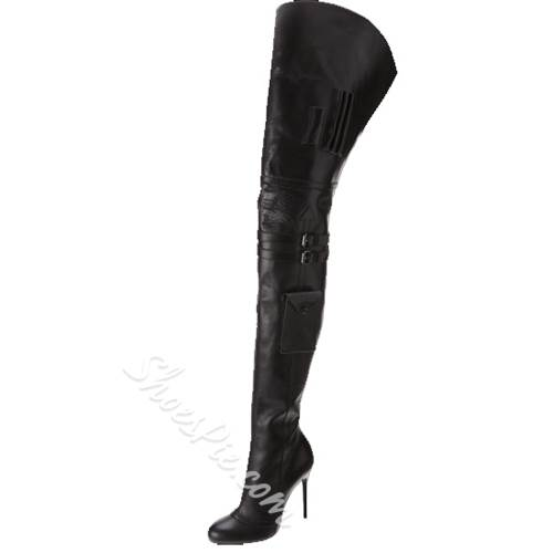 Gorgeous Sexy Black Stiletto Heels Knee High Boots