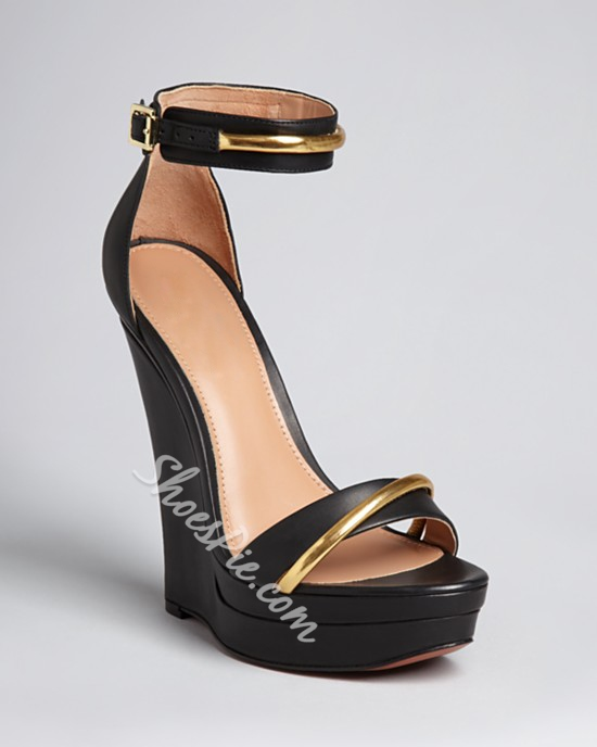 Fashion Black Wedge Sandals with Ankle Strap- Shoespie.com