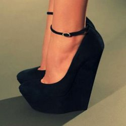 Shoespie Sexy Line-Style Buckle Suede Upper Wedge Heels