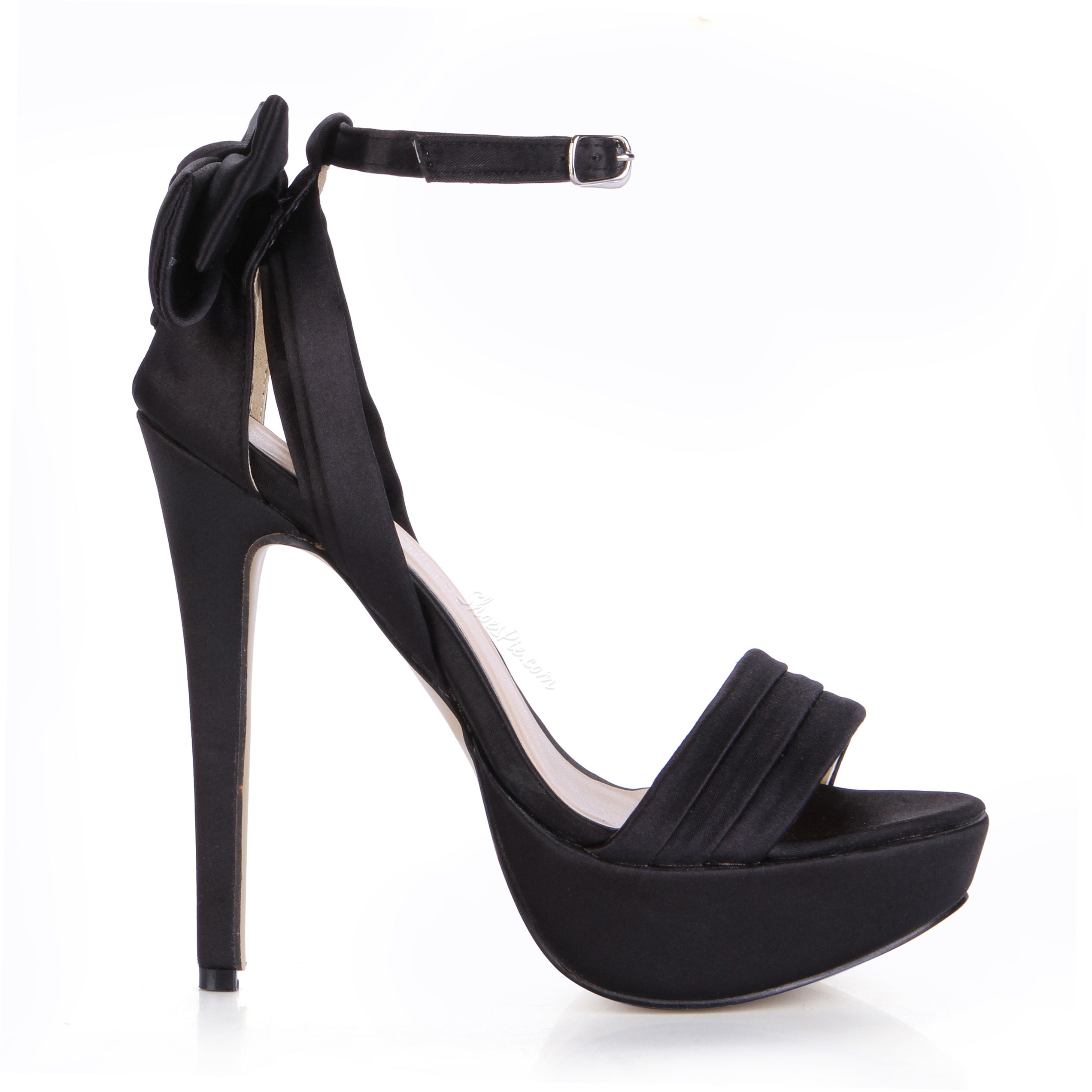 Fresh Black Peep Toe Dress Sandals with Bowknot