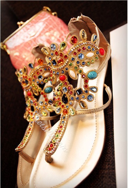 Gem Crystal Diamond Thong Flat Sandals