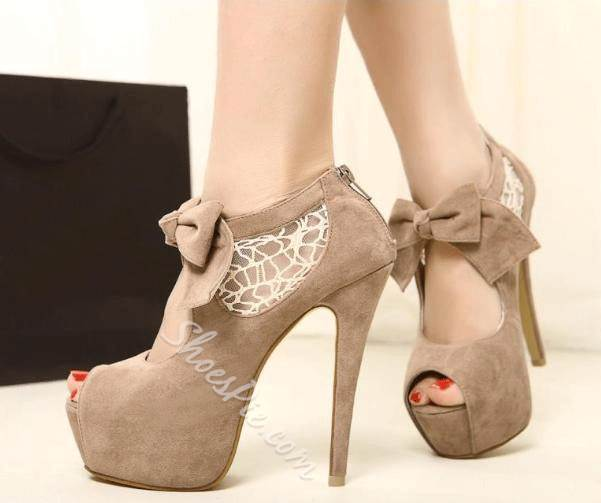 Elegant Peep-toe Platform Stiletto Heels with Bow & Lace
