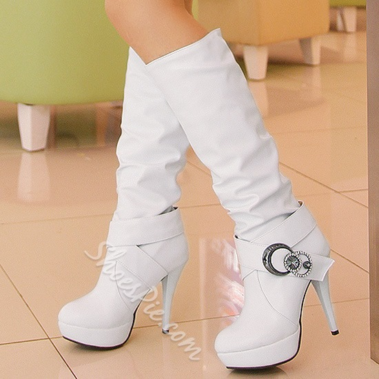 Chic White Platform Knee High Boots