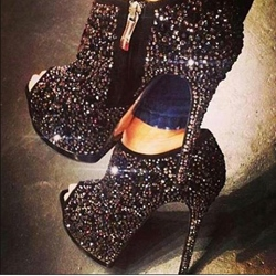 Shoespie Shining Black Peep-toe Platform Ankle Boots