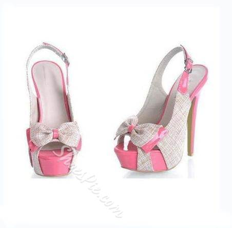 Sweet Matching Color Peep-toe Platform Sandals with Bowtie