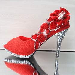 Shining Rhinestone Flower Peep-toe Bridal Shoes