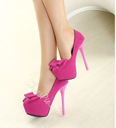 Cute PInk Platform Heels With Bowties