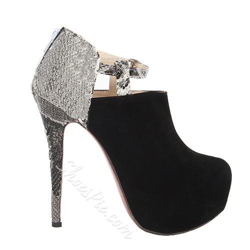 Sexy Black Matching Snakeskin Platform Ankle Boots
