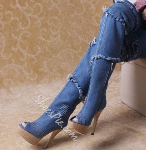 Retro Denim Peep-toe Stiletto Knee High Boots