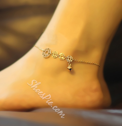 Chinese Coins and Little Bells Women's Anklets