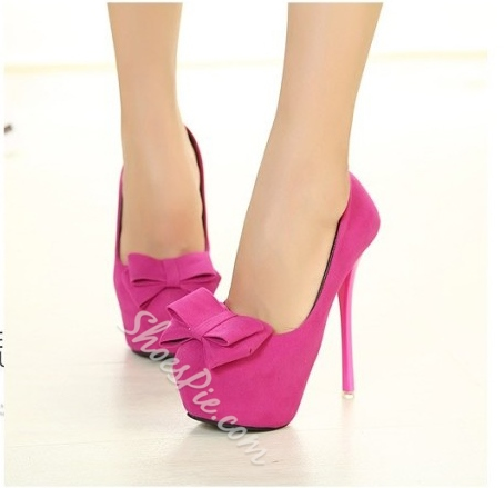 Cute PInk Platform Heels With Bowties- Shoespie.com