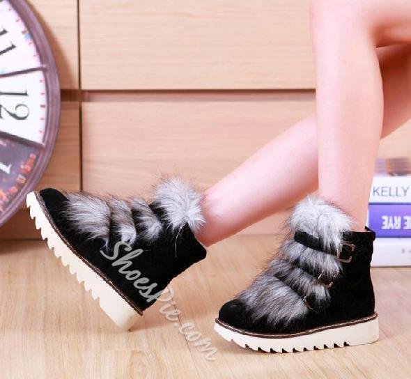 Warm and Comfortable Snow Boots with Buckle