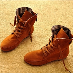 Comfortable Colorful Lace-up Flat Ankle Boots