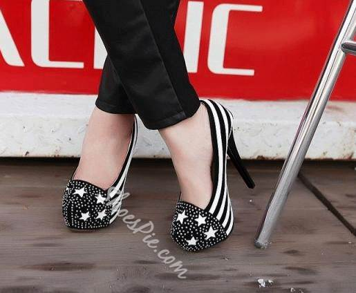 Perfect Zebra Rhinestone Platform Stiletto Heels