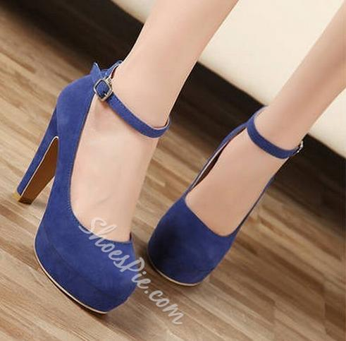 Concise Round-toe Chunky Heels with Ankle Straps