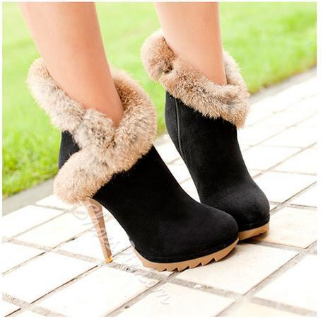 Delicate & Warm Stiletto Heels Ankle Boots