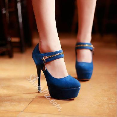Platform Stiletto Heels with Zipper