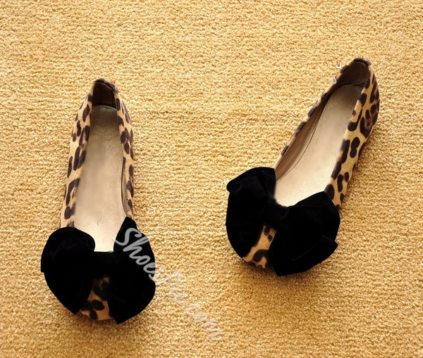Fashion Leopard Comfort Flats With Bowtie