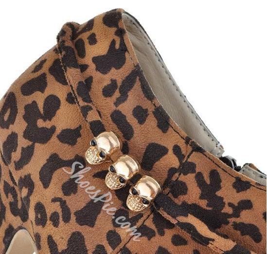 Sexy Leopard Stiletto Heels Ankle Boots with Little Skulls